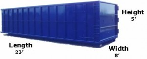 30 Yard Dumpster Sizes and Pricing - 23'L x 8'W x 5'H